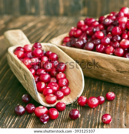 Cranberries in a decorative bowl. Selective focus - stock photo