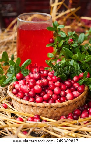 Cranberries in a wicker basket and a glass of cranberry juice. - stock photo