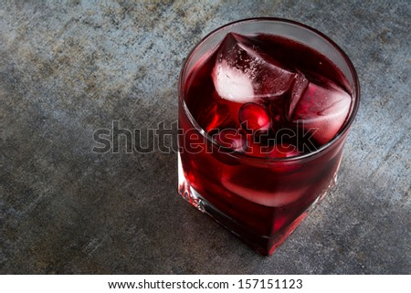 Cranberry cocktail with ice - stock photo