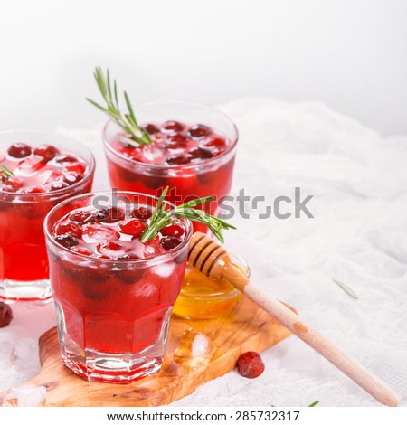 Cranberry cocktail with rosemary garnish, honey and soda, selective focus - stock photo