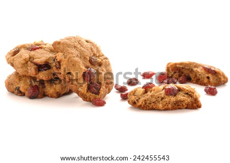 Cranberry Cookie on white background - stock photo