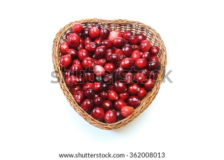 Cranberry in a basket - stock photo