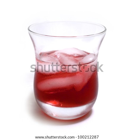 Cranberry juice on ice. - stock photo