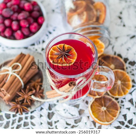 cranberry mulled wine - stock photo