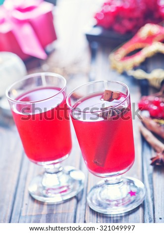 cranberry punch for winter and Christmas - stock photo