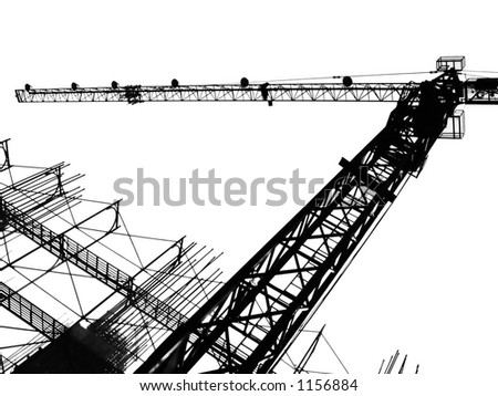 Crane and Scaffolding -- seen in outline form - stock photo