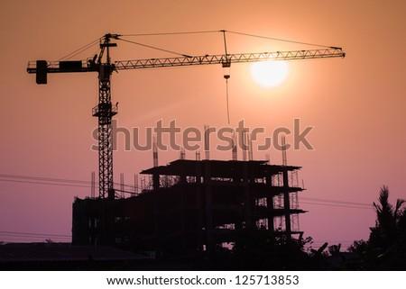 crane building construction site - stock photo