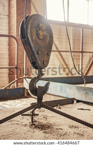 Crane chain and hook. - stock photo