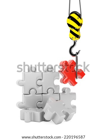 Crane hook and jigsaw puzzle. Construction concept isolated on white background. 3d rendering image - stock photo