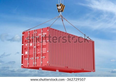 Crane hook and red cargo container on sky background - stock photo