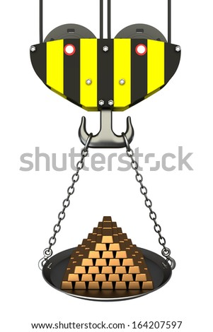 Crane hook, bowl with gold bars. Isolated. white background. 3D - stock photo