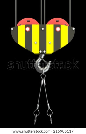 Crane hook. isolated on black background. 3d illustration  - stock photo