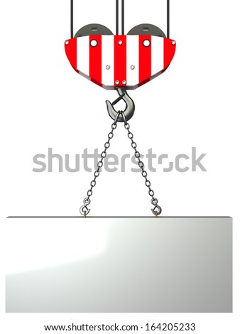 crane hook, lifting blank block. isolated. white background. 3D - stock photo