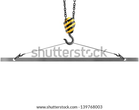Crane hook with emptiness in the clamp, isolated on white background. - stock photo