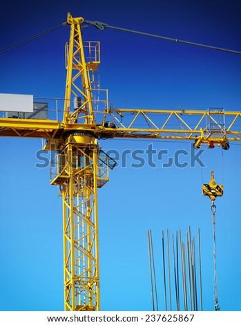 crane in construction - stock photo