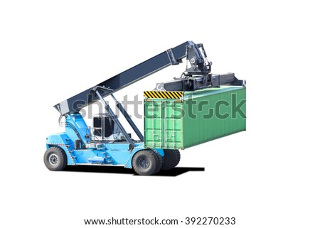 Crane lifts container handler isolated on white background with clipping path - stock photo