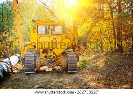 crane on tracks rear view  - stock photo