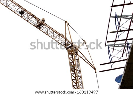 Crane & scaffolding ,building construction  - stock photo