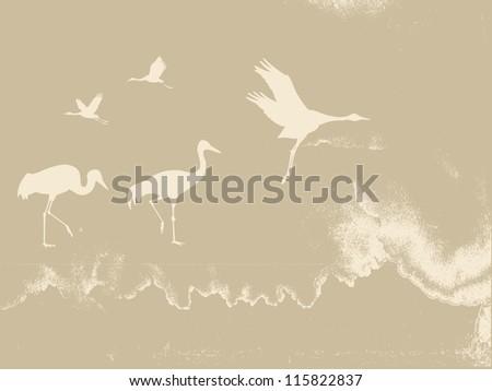 crane silhouette on grunge background - stock photo