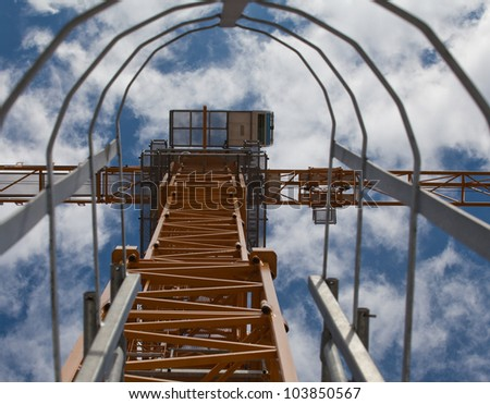 Crane stair with blue sky - stock photo