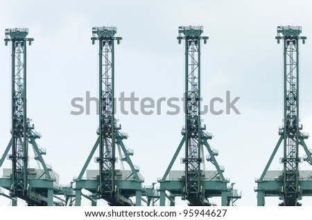 cranes at port - stock photo