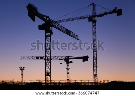 Cranes at sunset - stock photo