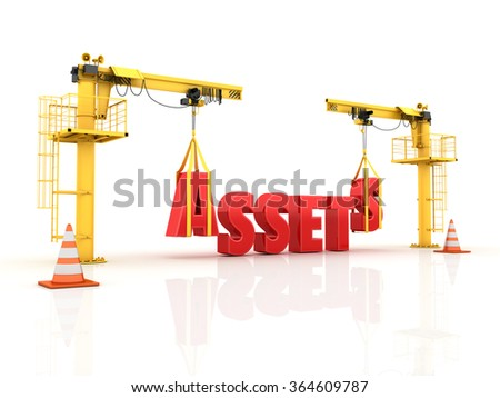 Cranes building the ASSETS Word - High Quality 3D Render - stock photo