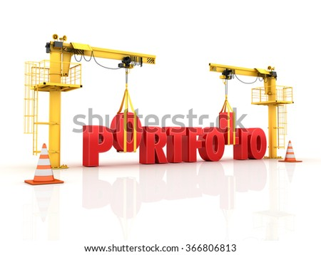 Cranes building the PORTFOLIO Word - High Quality 3D Render - stock photo