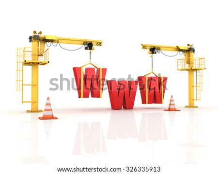 Cranes building the WWW Word - High Quality 3D Render - stock photo