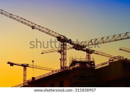 cranes in Berlin - stock photo