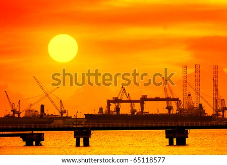 cranes in remontowa dockside - stock photo