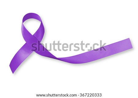 Craniosynostosis Craniofacial Awareness ribbon Violet color on isolated on white background: Satin fabric loop symbolic logo raising support help people life living w/ tumor illness - stock photo