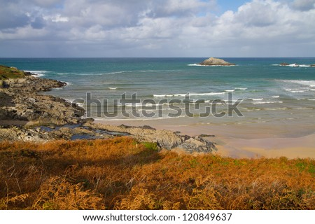 Crantock bay and beach Cornwall England in autumn.   Near Newquay and on the South West Coastal Path - stock photo