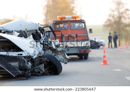 Crashed car automobile collision accident at road - stock photo