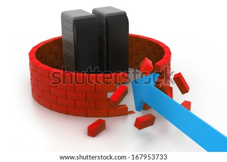 Crashed server security - stock photo