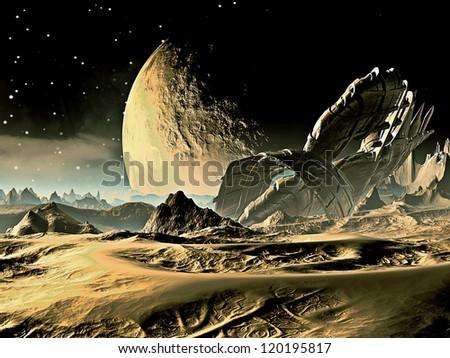 Crashed Spaceship on Alien World - stock photo