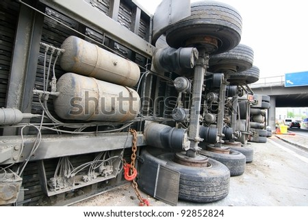 crashed truck - stock photo