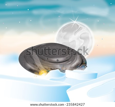 Crashed UFO alien spaceship, Cartoon alien spacecraft crashed and burning in the arctic landscape. - stock photo
