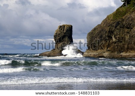 Crashing Waves at Olympic National Park - Washington - stock photo
