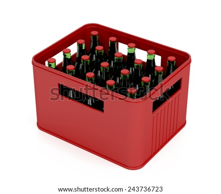 Crate full with lager beer bottles on white background - stock photo