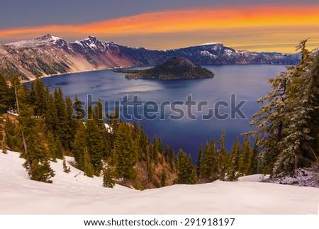 Crater Lake image takne at Sunset - stock photo