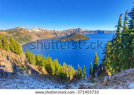Crater Lake National Park in autumn, Oregon, USA - stock photo
