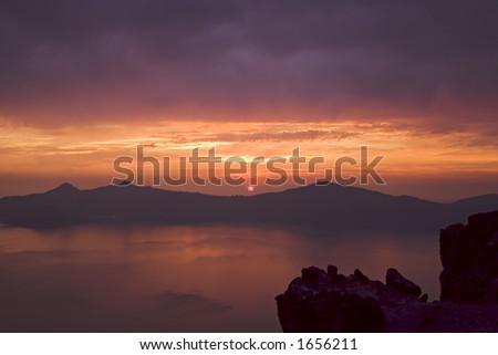 Crater Lake sunset 2 - stock photo