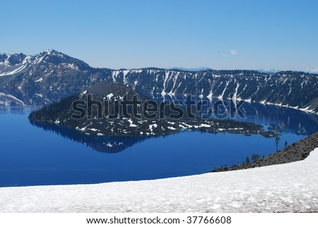 Crater Lake With Wizard Island, Crater Lake National Park, Oregon - stock photo