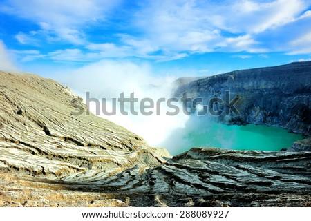 Crater of Kawah Ijen Volcano on Lombok, Indonesia - stock photo