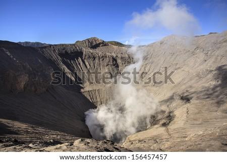 Crater of volcano Bromo, Sunri on Java, Indonesia - stock photo