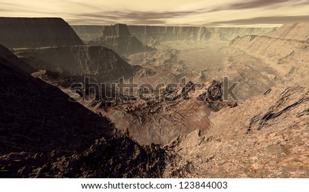 Cratered Mars canyon viewed from escarpment - stock photo