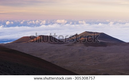 Craters and moonscape on top of Mauna Kea. Big Island, Hawaii - stock photo