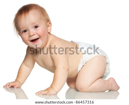 Crawling happy baby isolated on white - stock photo