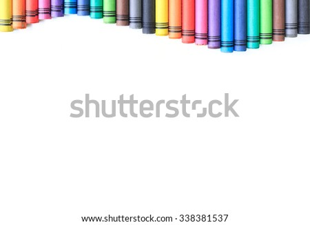 crayon drawing border multicolored background - stock photo